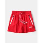 New              Mens Activewear Solid Color Quick Dry Drawstring Zipper Pockets Beach Board Shorts