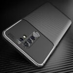 New              Bakeey for Xiaomi Redmi 9 Case Luxury Carbon Fiber Pattern Shockproof Silicone Protective Case Back Cover with Lens Protector