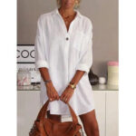 New              Solid Color Turn-down Collar Long Sleeve Pocket Shirt Dress