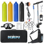 New              DEDEPU 9 Pcs Scuba Diving Set 1L Oxygen Tank Air Adapter Air Pump Underwater Breathing Mini Equipment