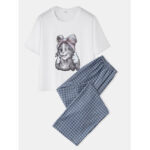 New              Women Cute Cat Print Pajamas Set Two Pieces Comfy Sleepwear With Long Plaid Pants