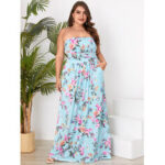 New              Plus Size Floral Print Side Pockets Tube Top Sleeveless Holiday Maxi Dress