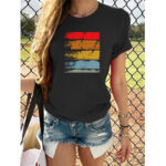 New              Women Summer Print Short Sleeve Daily Casual Wild T-shirts