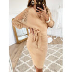 New              Solid Color Wrap Design Long Sleeves Bodycon Knit Midi Dress