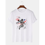 New              100% Cotton Designer Astronaut Print Loose Short Sleeve T-Shirts