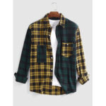 New              Banggood Design Men Cotton Spliced Plaid Patch Pocket Long Sleeve Casual Shirts