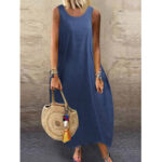 New              Solid Color O-neck Sleeveless Loose Baggy Denim Maxi Dress