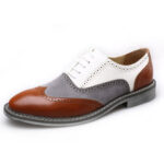 New              Men Brogue Colorblock Oxfords Lace Up Business Casual Formal Shoes