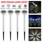 New              4PCS Solar Powered Diamond LED Lawn Light Waterproof Garden  Outdoor Patio Landscape Path Lamp