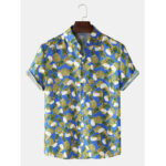New              Mens Pineapple Printed Short Sleeve Lapel Collar Casual Shirts