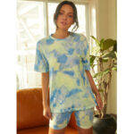 New              Tie Dye Print Women Summer Sports Two-piece Top Casual T-shirts