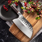 New              KCASA MCD39 Stainless Steel Forged Knife Meat Cleaver Butcher Knife Kitchen Chef Knife Tool With Ebony Wood Handle