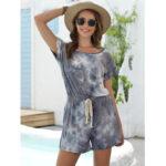 New              Die-dye Print O-neck Short Sleeve Drawstring Waist Mini Jumpsuits