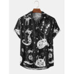 New              Mens Cartoon Cat Print Turn Down Collar Short Sleeve Shirts