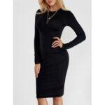 New              Black Round Neck Long Sleeve Slim Midi Dress
