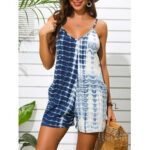 New              Tie-dye Print Holiday Sleeveless V-neck Sling Casual Jumpsuit
