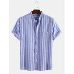New              Mens Striped Print Light Casual Short Sleeve Stand Collar Shirts With Pocket