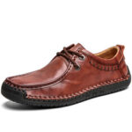 New              Men Cowhide Leather Hand Stitching Non Slip Soft Sole Business Casual Shoes