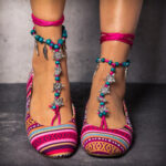 New              LOSTISY Beaded Red Chain Stripe Comfortable Bohemian Flat Loafers