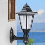 New              Outdoor Solar Powered Hexagon Shape Wall-Mount LED Lantern Light Garden Lawn Waterproof Wall Lamp