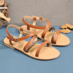 New              Women Large Size Beach Braided Open Toe Strappy Cross Buckle Flat Sandals