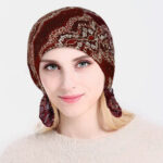 New              Fashion Lace Printing Chemotherapy Cap Knitting Cutout Hats