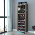 New              10 Tiers Shoe Rack with Dustproof Cover Closet Shoe Storage Cabinet Organizer