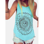 New              Disk Letter Print Round Neck Loose Summer Casual Tank Tops