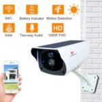 New              Pripaso 1080P WI FI Solar Camera HD Wireless IP67 Waterproof WiFi Exterior Security Surveillance CCTV IP Camera Two Way Audio Cam