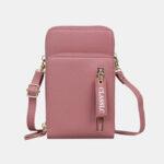 New              Women 3 Card Slots 6.5 Inch Solid Phone Bag Crossbody Bag Shoulder Bag