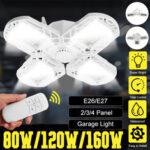 New              E27 LED Garage Light Bulb Ceiling Fixture Shop Workshop Deformable Lamp Remote