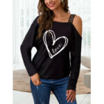 New              Graphic Print One Shoulder Long Sleeves T-shirts For Women