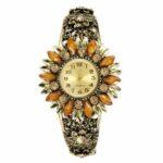 New              Deffrun Retro Style Women Bracelet Watch Flower Shape Full Steel Band Quartz Watch