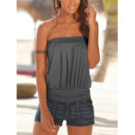 New              Pleated Strapless Sleeveless Solid Casual Cami