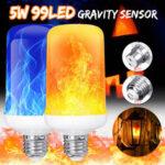 New              4 Modes Gravity Sensor B22 E27 Flame Effect Fire Light Bulb Super Bright 96 LEDs Decorative Atmosphere Light Christmas Decor Lamp