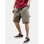 New              Mens Cotton Solid Color Multi Pocket Loose Drawstring Shorts