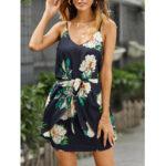 New              Women Random Floral Print Sleeveless Stretch Waist Belted Mini Dress