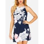 New              Off Shoulder Floral Print Halter Backless Mini Dress