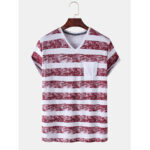 New              Banggood Special Offers Casual Striped Pocket V Neck Short Sleeve T-Shirts