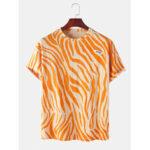 New              Cotton Animal Zebra Print Round Neck Short Sleeve T-Shirts