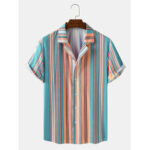New              Mens Striped Revere Collar Short Sleeve Shirts