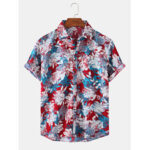 New              Mens Floral Printed Light Casual Short Sleeve Shirts