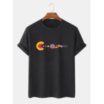 New              100% Cotton Funny Planet Print Crew Neck Short Sleeve Loose T-Shirts