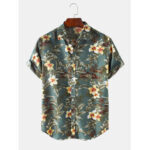 New              Cotton Mens Plant Print Lapel Collar Holiday Casual Short Sleeve Shirts