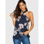 New              Women Casual Random Floral Print Halter Sleeveless Cami