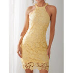 New              Yellow Halter Lace Hollow Out Bodycon Sleeveless Elegant Mini Dress
