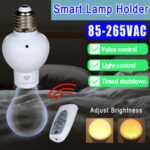 New              E27 Smart Wireless Light Bulb Adapter Voice Control Lamp Holder Timing Cap Socket Switch + Remote Control 85-265V