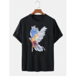 New              Colorful Parrot Bird Print Short Sleeve Cotton Loose T-Shirts