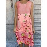 New              Women Color Block Floral Print Round Neck Sleeveless Casual Dress