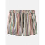 New              Mens Multicolor Striped Pocket Holiday Casual Drawstring Board Shorts